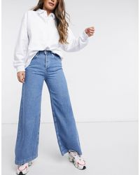 The Ragged Priest Relaxed Wide Leg Skater Jeans - Blue