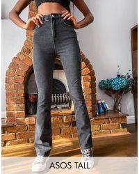 ASOS Asos Design - Tall - Jaren 70 Kick Flare Jeans Met Hoge Taille En Wassing - Meerkleurig