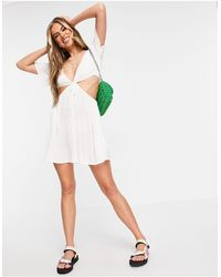 Missguided Белое Платье Мини С Вырезом И V-образной Горловиной -белый