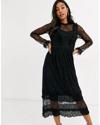 Y.A.S Lace Midi Dress With Ruffle Detail - Black