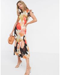 Never Fully Dressed Contrast Frill Sleeve And Hem Midi Dress - Multicolour