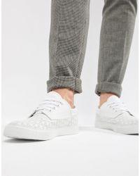 timeless design 2630c 9edb2 ASOS - Zapatillas de lona con cordones en blanco con perforaciones de - Lyst