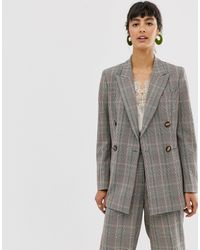 Whistles Hourglass Double Breasted Check Blazer - Gray