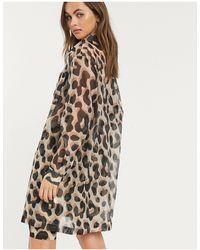 Monki Hester Leopard Print Organza Shirt - Brown