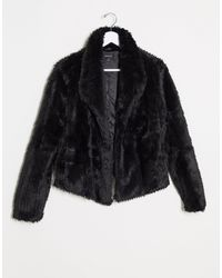 Bardot Soft Faux Fur Jacket - Black