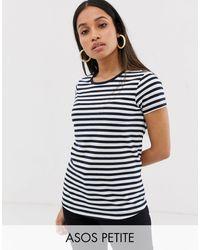 ASOS ASOS DESIGN Petite – Gestreiftes T-Shirt mit Rundhalsausschnitt - Blau