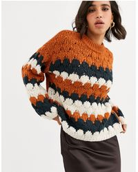 Y.A.S High Neck Graphic Knit Jumper-grey - Multicolour