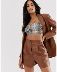 ASOS Leather Look Suit Shorts - Brown