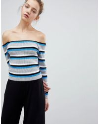 Daisy Street - Off Shoulder Jumper In Fine Stripe - Lyst