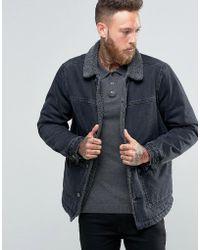 ASOS - Fully Borg Lined Denim Jacket In Black Wash - Lyst