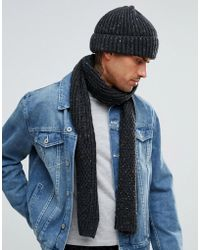 French Connection - Mixed Cable Knit Scarf - Lyst