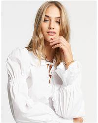 Fashion Union Shirt With Lace Edge Collar - White