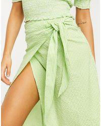 Monki Gab Check Print Wrap Midi Skirt - Green