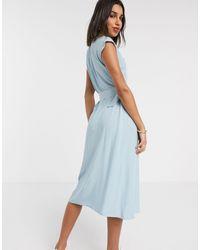 Warehouse Midi Dress With Horn Ring Belt - Blue