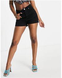 I Saw It First Rolled Up Hem Mom Shorts - Black