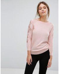 Warehouse Lace Insert Sweater - Pink