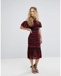 Foxiedox - Cold Shoulder Midi Dress With Peplum Hem In Allover Lace - Lyst
