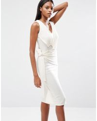 Lavish Alice - Rib Knit Tie Wrap Front Open Ring Detail Midi Dress - Lyst