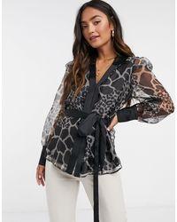 River Island Giraffe Print Organza Wrap Blouse - Black