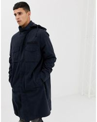 ASOS - Longline Parka Jacket With Hood In Navy - Lyst