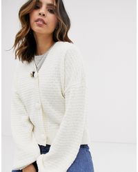 Y.A.S Textured Chunky Cardigan - White