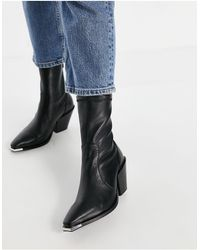 Office Ashen Western Ankle Boots - Black