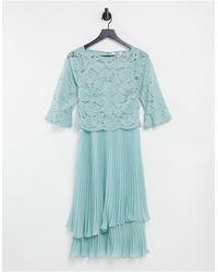 Oasis Vestito da damigella midi a strati con maniche svasate celeste - Verde
