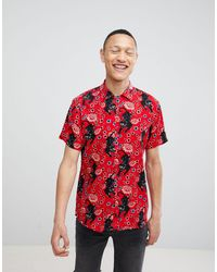 Brave Soul Short Sleeved Panther Print Shirt With Revere Collar - Red