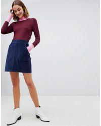 Warehouse - Cord Mini Skirt In Navy - Lyst