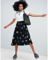 Monki - All Over Face Print Midi Skirt - Lyst