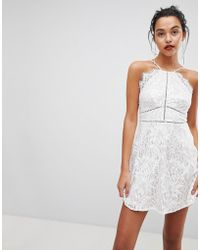 Love Triangle - Strappy Detail Lace Skater Mini Dress - Lyst