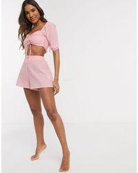Fashion Union - Розовые Пляжные Шорты В Клетку -розовый Цвет - Lyst