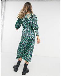 TOPSHOP - Зеленое Платье Миди С Цветочным Принтом -зеленый Цвет - Lyst