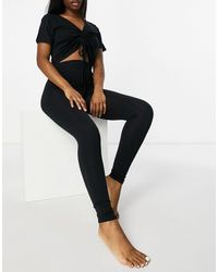 Missguided Ruched T-shirt And leggings Loungewear Set - Black