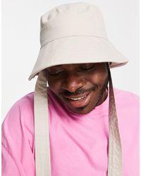 ASOS Wide Brim Bucket Hat With Neck Tie - Multicolour