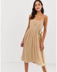 f2dc0c288f26 ASOS - Soft Chiffon Square Neck Midi Prom Dress With Twist Strap - Lyst