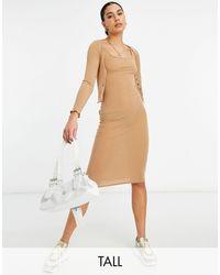 New Look - Комплект Из Платья И Кардигана В Рубчик Бежевого Цвета -коричневый - Lyst