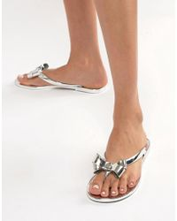 Lipsy - Jelly Sandal With Bow In Metallic - Lyst