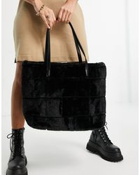 Skinnydip London Woven Look Fur Tote Bag - Black