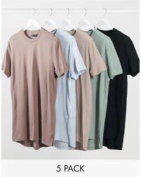 ASOS Set Van 5 Lange T-shirts Met Zijsplitten - Meerkleurig