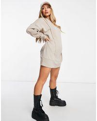 ASOS - Vestito felpa con cappuccio oversize con cuciture decorative grigio talpa - Lyst