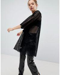 Weekday - Velvet Mesh T-shirt Dress - Lyst