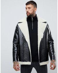 ASOS – Übergroße Jacke aus schwarzem Vinyl mit Innenfutter