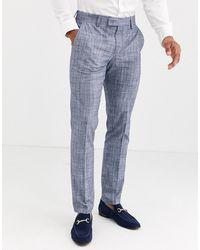ASOS Pantalones de traje ajustados con diseño de cuadros en azul oscuro