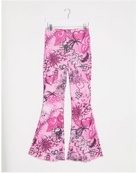 Jaded London Fitted Flares - Pink
