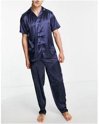 ASOS – pyjama-set aus satin - Blau