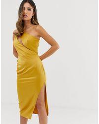 ASOS Атласное Платье Миди С Разрезами На Лифе - Желтый