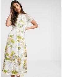 Liquorish Белое Платье Миди С Цветочным Принтом И Кружевными Вставками -кремовый - Многоцветный