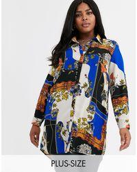 AX Paris Классическая Рубашка С Платочным Принтом -мульти - Синий