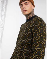 Only & Sons – Gerippter Pullover mit Rundhalsausschnitt und Retro-Print - Schwarz